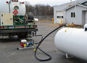 Evacuating Propane Storage Tank Using Pump on Bulk Truck